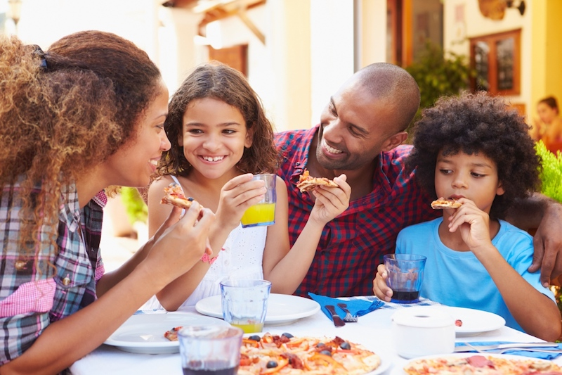 family dining in a kid-friendly restaurant