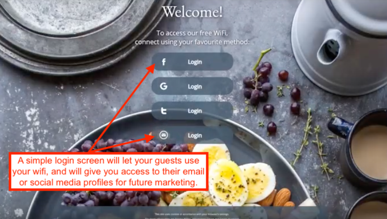 Wi-Fi login screen example for restaurants