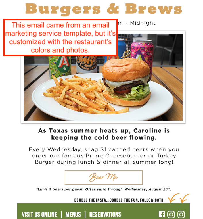 Example restaurant email marketing campaign