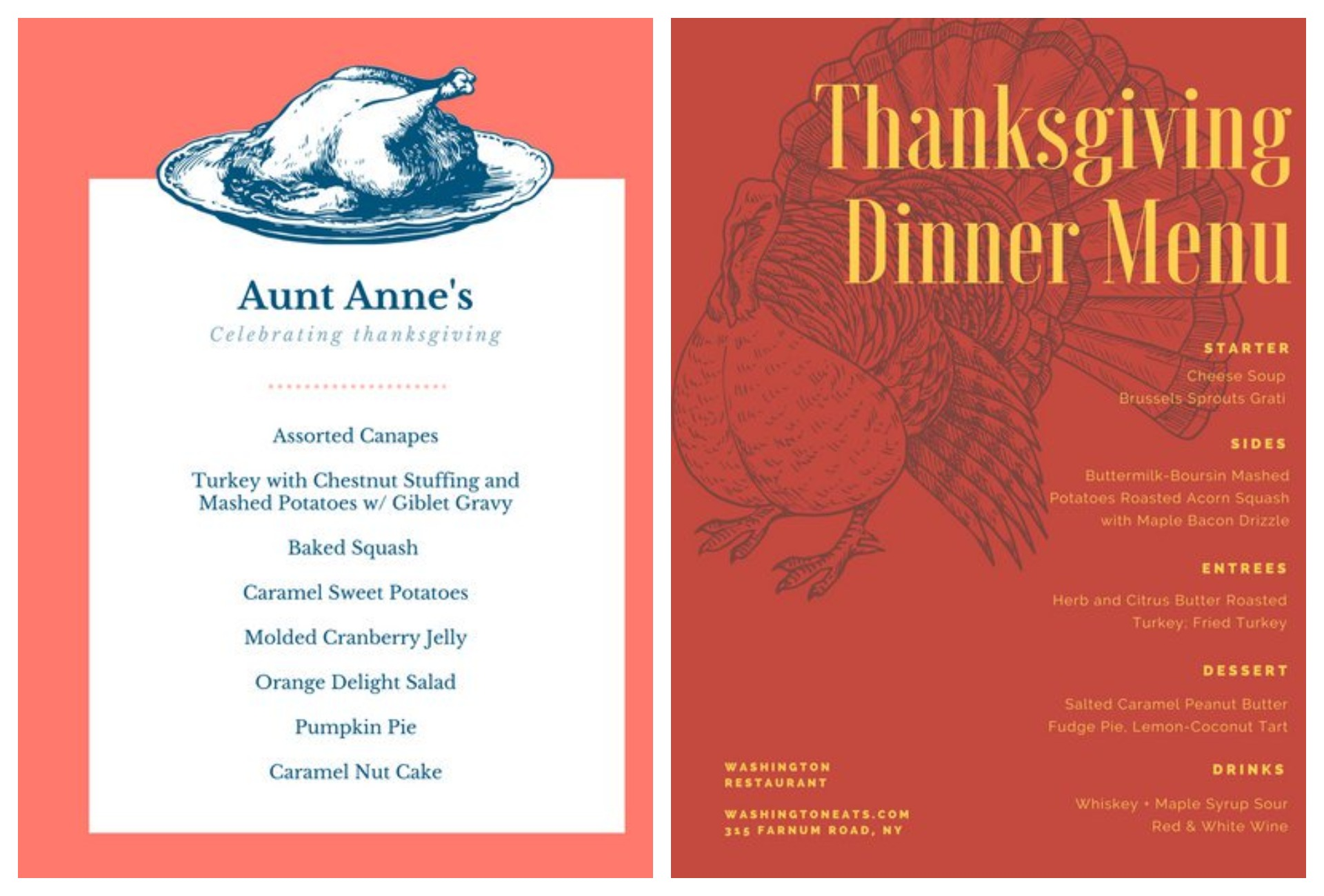 Thanksgiving service menu ideas